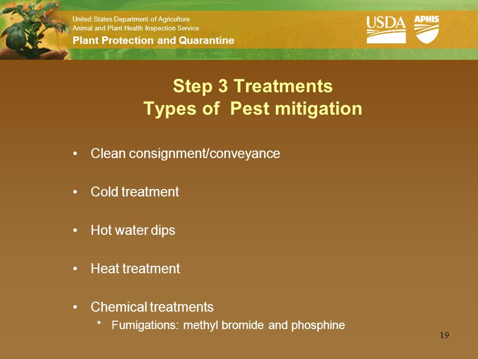 United States Department of Agriculture Animal and Plant Health Inspection Service Plant Protection and Quarantine 19 Step 3 Treatments Types of Pest