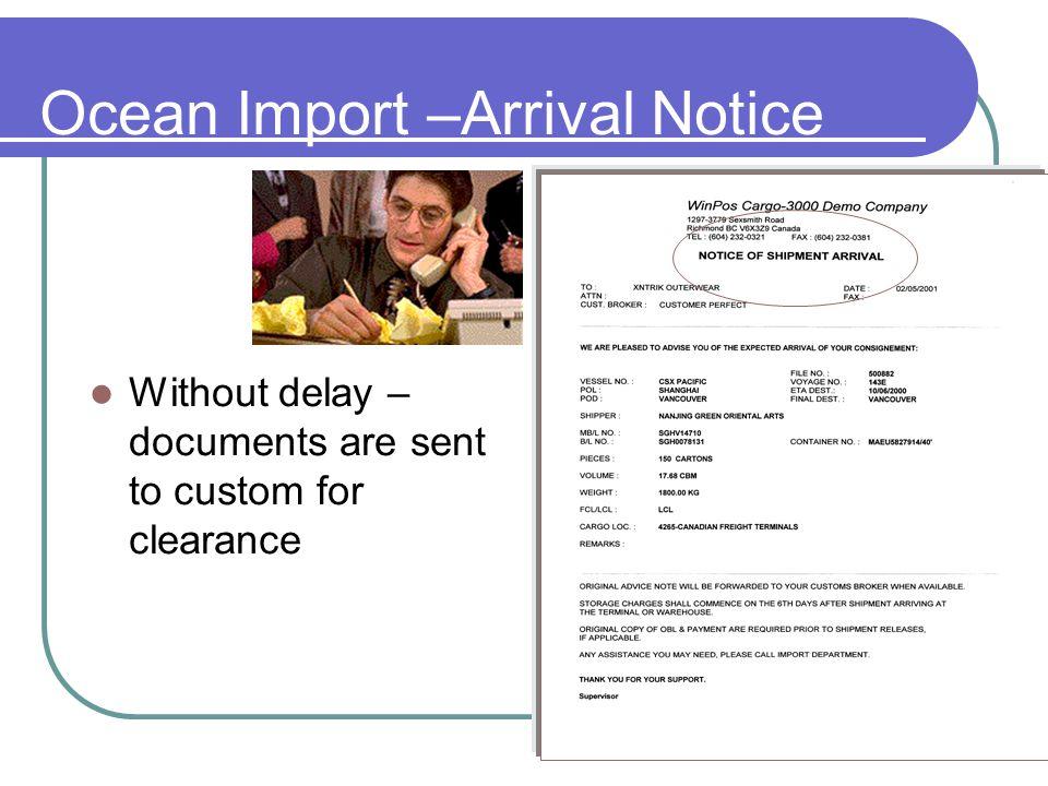 Ocean Import – In Bond / Release notice