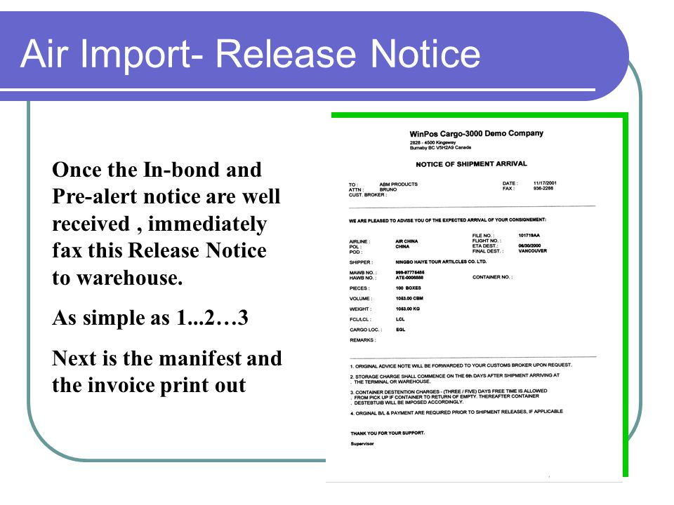 """Air-Import –In Bond / Pre-Alert System has built in Bar code printing feature """"Carrier code"""" System has built in Bar code printing feature """"Carrier co"""