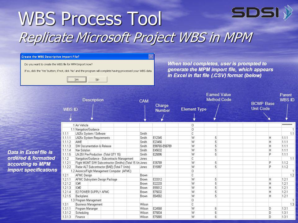 10 When tool completes, user is prompted to generate the MPM import file, which appears in Excel in flat file (.CSV) format (below) WBS ID Description