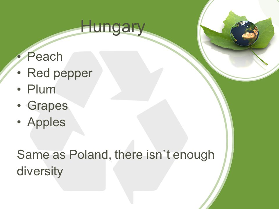 Hungary Peach Red pepper Plum Grapes Apples Same as Poland, there isn`t enough diversity