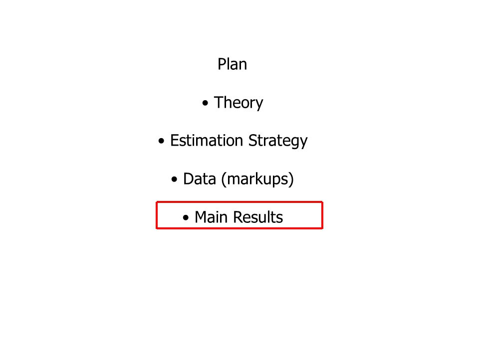 Plan Theory Estimation Strategy Data (markups) Main Results