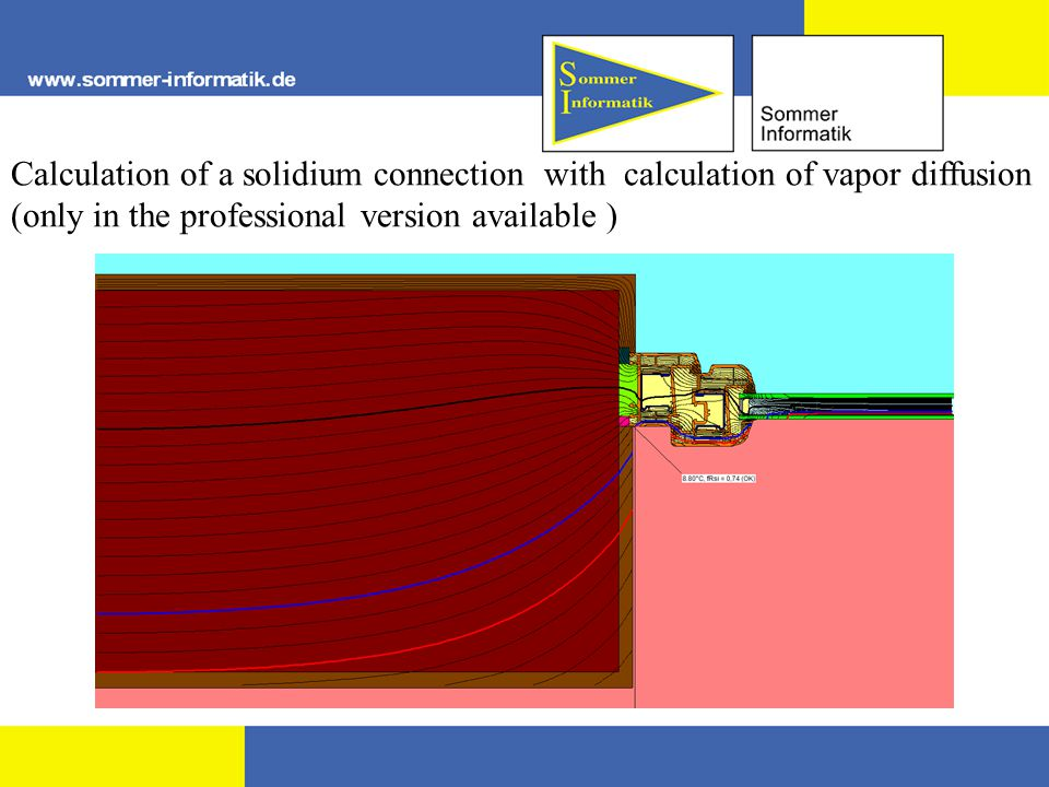 Calculation of a solidium connection with calculation of vapor diffusion (only in the professional version available )