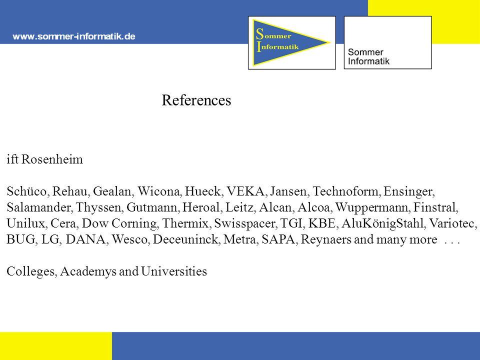References ift Rosenheim Schüco, Rehau, Gealan, Wicona, Hueck, VEKA, Jansen, Technoform, Ensinger, Salamander, Thyssen, Gutmann, Heroal, Leitz, Alcan, Alcoa, Wuppermann, Finstral, Unilux, Cera, Dow Corning, Thermix, Swisspacer, TGI, KBE, AluKönigStahl, Variotec, BUG, LG, DANA, Wesco, Deceuninck, Metra, SAPA, Reynaers and many more...