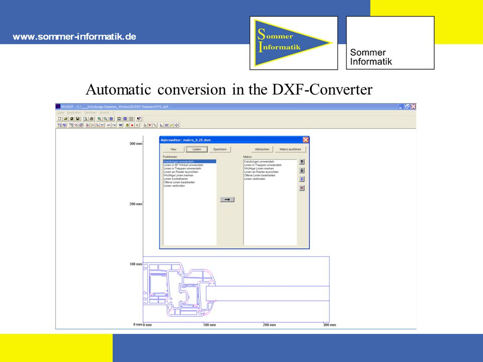 Automatic conversion in the DXF-Converter