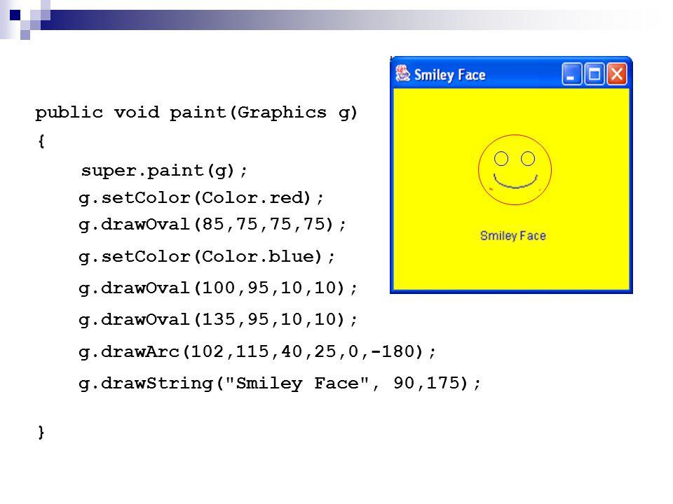 public void paint(Graphics g) { super.paint(g); } g.drawOval(85,75,75,75); g.setColor(Color.blue); g.drawOval(100,95,10,10); g.drawOval(135,95,10,10);