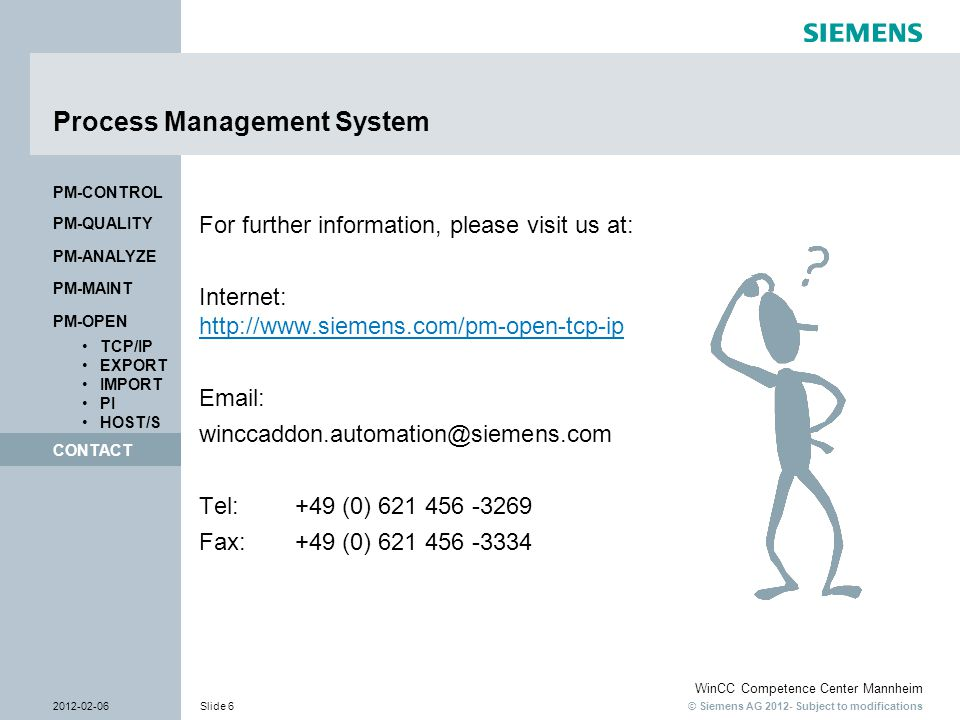 © Siemens AG 2012- Subject to modifications WinCC Competence Center Mannheim 2012-02-06Slide 6 CONTACT PM-OPEN TCP/IP EXPORT IMPORT PI HOST/S PM-QUALI
