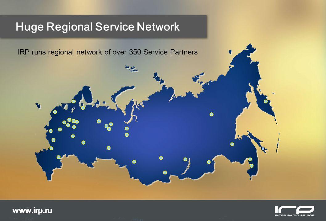 Huge Regional Service Network www.irp.ru IRP runs regional network of over 350 Service Partners www.irp.ru