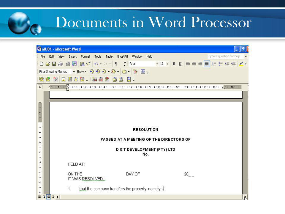 Documents in Word Processor