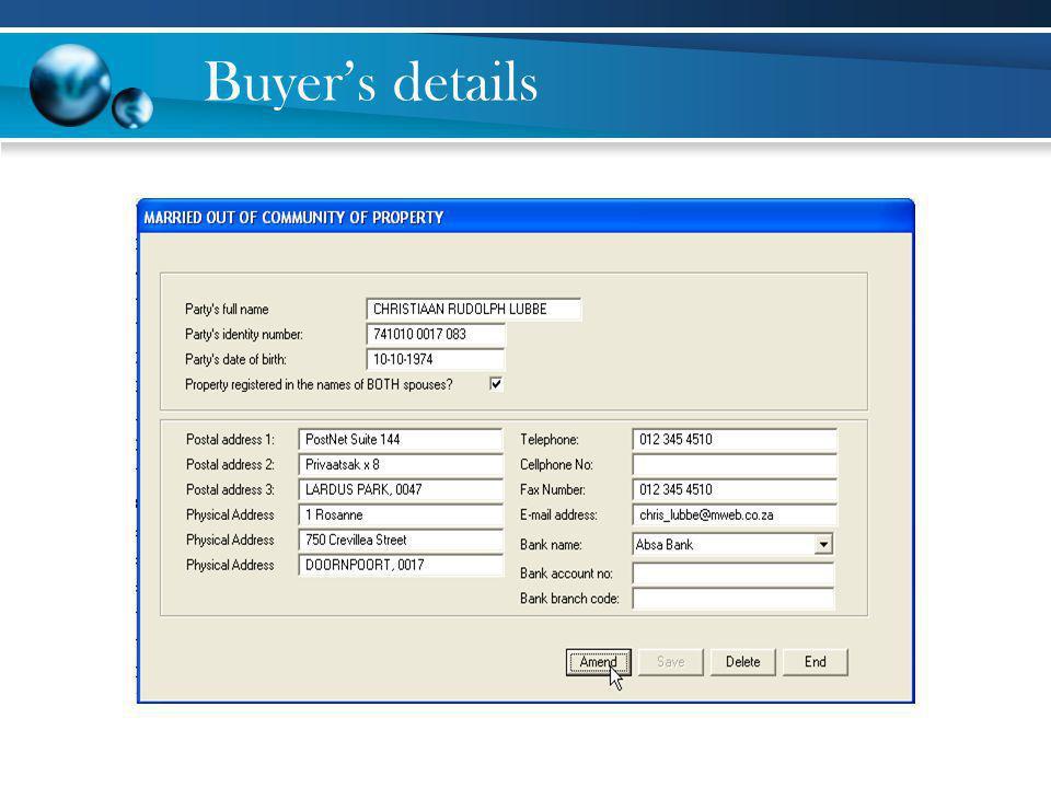 Buyer's details