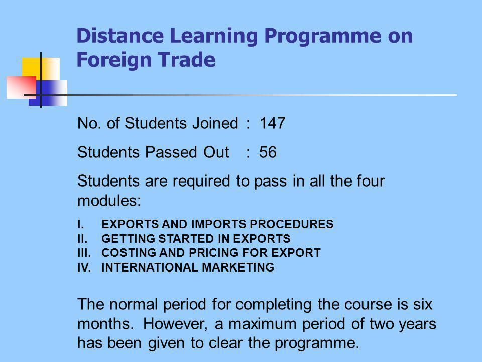 Distance Learning Programme on Foreign Trade No.