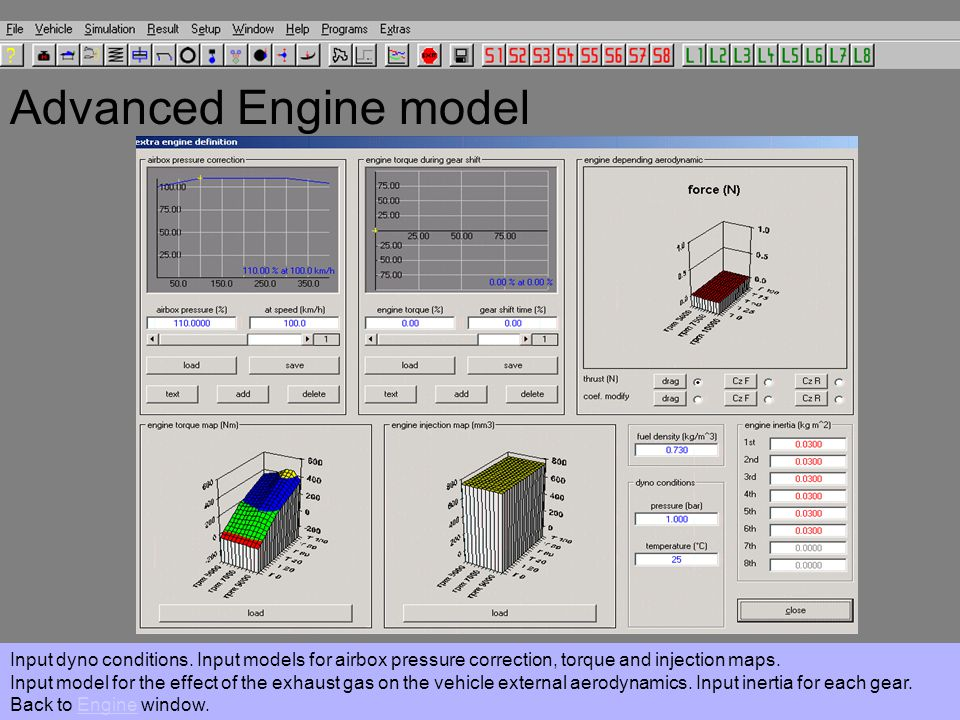 Advanced Engine model Input dyno conditions.