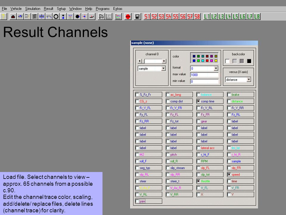 Result Channels Load file. Select channels to view – approx.