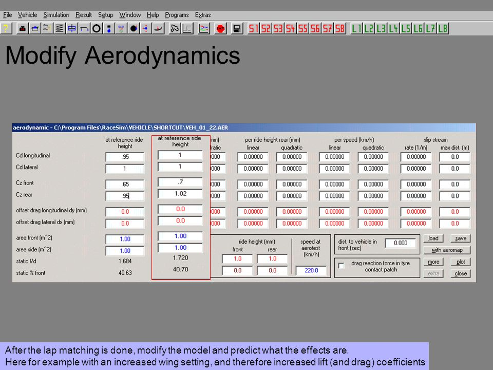 Modify Aerodynamics After the lap matching is done, modify the model and predict what the effects are.