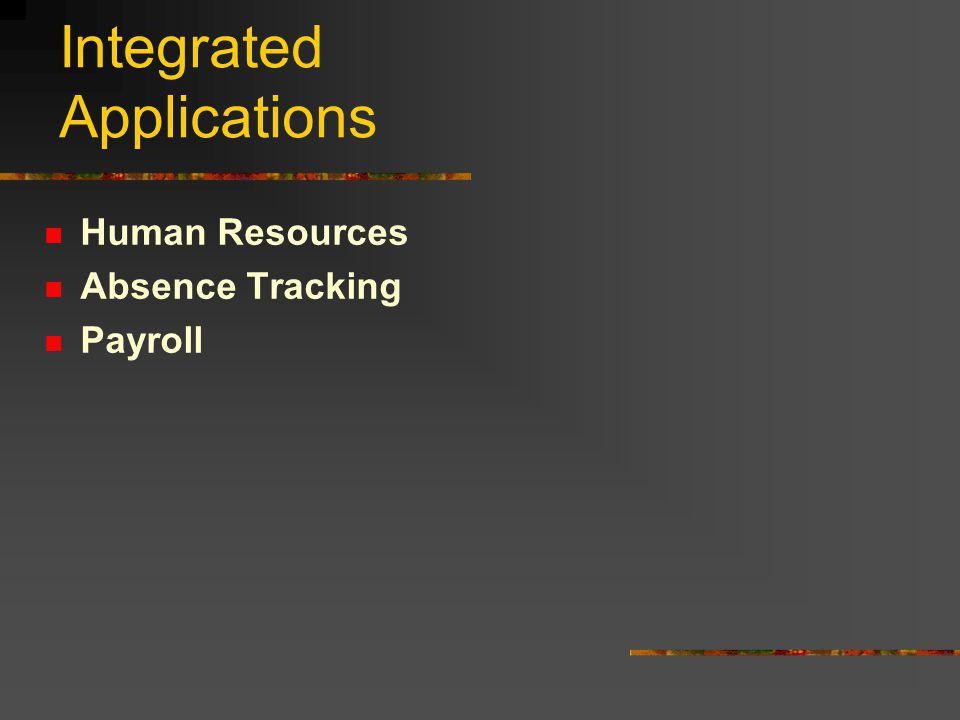 Integrated Applications Human Resources Absence Tracking Payroll General Ledger Accounts Payable Purchasing Fixed Assets Warehouse Accounts Receivable Q3 Office Access School Access