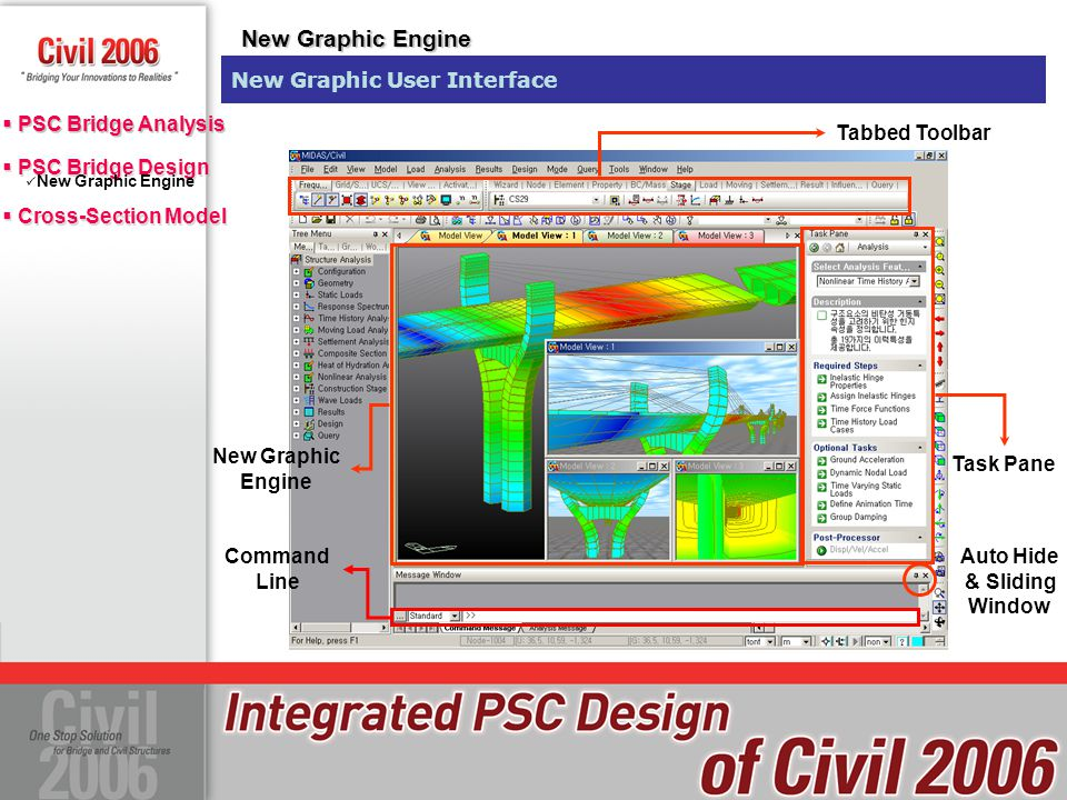  PSC Bridge Design  Cross-Section Model  PSC Bridge Design  Cross-Section Model PSC Wizard User Defined Section Tapered Sections PSC Reinforcement Effective Width Calculation Tendon Profiles PSC Bridge Result  PSC Bridge Analysis PSC Box Wizard Type II : Improved Input method of Tendon Profile PSC Wizard PSC Box Bridge Wizards Tendon Input using Excel Sheet, Copy and Paste