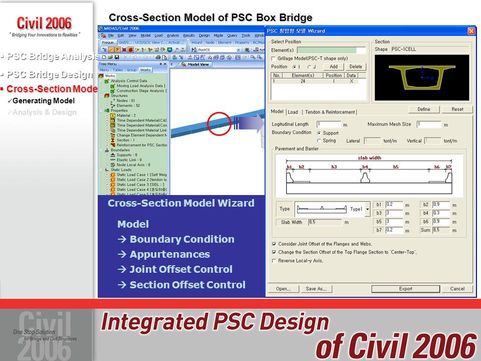  PSC Bridge Design  PSC Bridge Analysis  Cross-Section Model Generating Model Analysis & Design Cross-Section Model of PSC Box Bridge Model  Bound