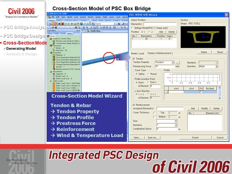  PSC Bridge Design  PSC Bridge Analysis  Cross-Section Model Generating Model Analysis & Design Cross-Section Model of PSC Box Bridge Tendon & Reba