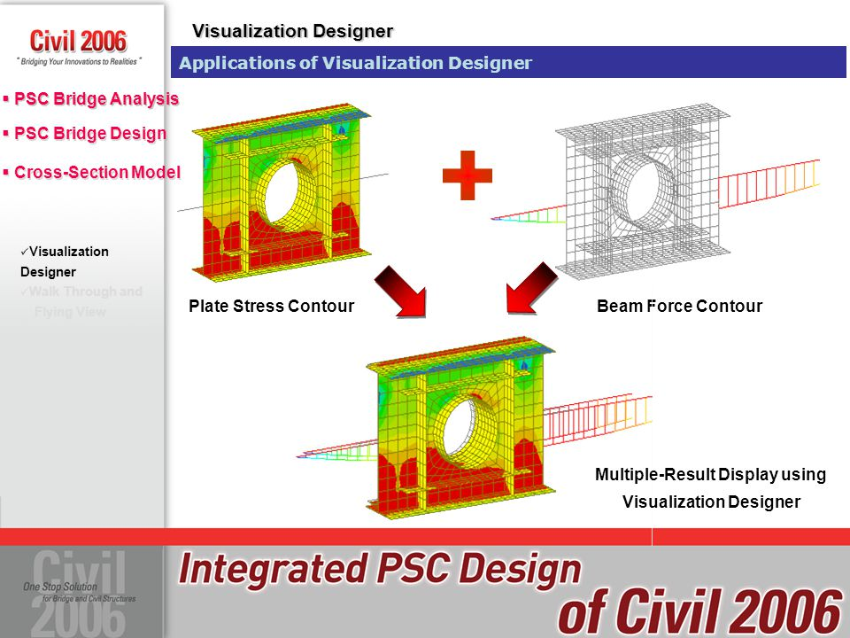  PSC Bridge Design  Cross-Section Model  PSC Bridge Design  Cross-Section Model  PSC Bridge Analysis Walk Through and Flying View Suspension Bridge with User Defined SectionSolid Element ModelPlate Element Model Beam Element ModelExamine Inner Stress by Flying View or Walk Through Visualization Designer Walk Through and Flying View Walk Through and Flying View