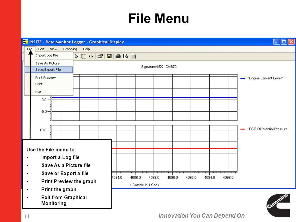 Innovation You Can Depend On 14 Use the File menu to:  Import a Log file  Save As a Picture file  Save or Export a file  Print Preview the graph  Print the graph  Exit from Graphical Monitoring File Menu