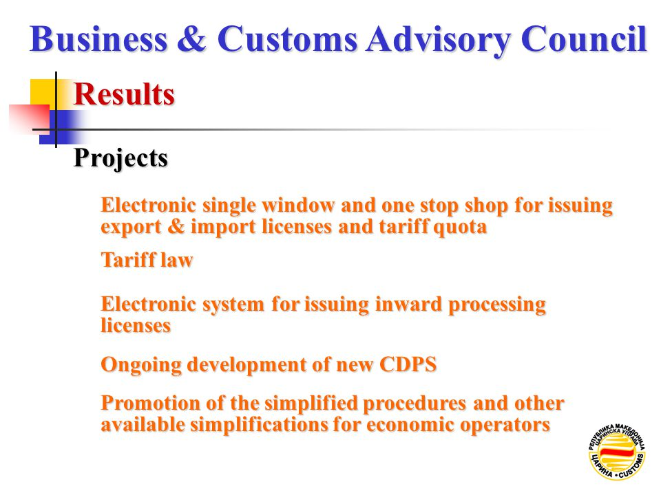 Results Business & Customs Advisory Council Projects Electronic single window and one stop shop for issuing export & import licenses and tariff quota