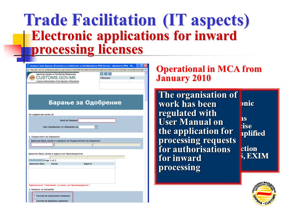Operational in MCA from January 2010 ELECTRONIC DOCUMENT NOT VALID YET Plans - Validation of the electronic documents documents - Inclusion of the cus