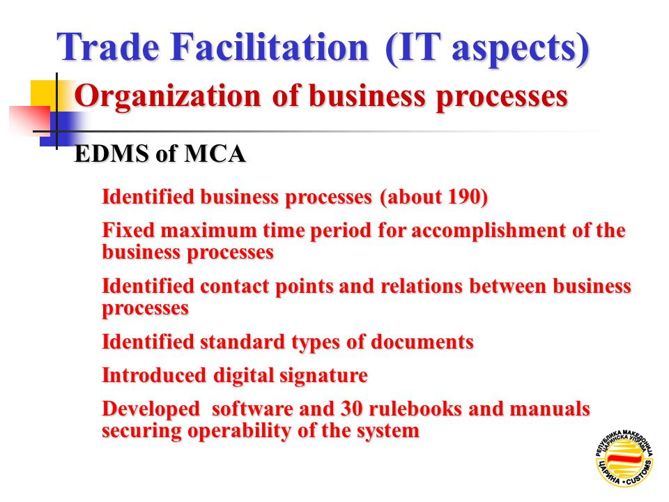 Identified business processes (about 190) Fixed maximum time period for accomplishment of the business processes Identified standard types of document