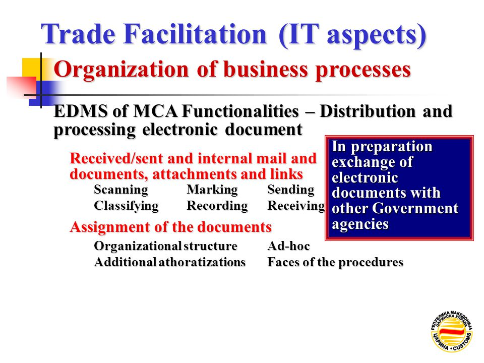 Assignment of the documents In preparation exchange of electronic documents with other Government agencies Received/sent and internal mail and documents, attachments and links Classifying Scanning Organizational structure Additional athoratizations Faces of the procedures Ad-hoc RecordingReceiving MarkingSending EDMS of MCA Functionalities – Distribution and processing electronic document Organization of business processes Trade Facilitation (IT aspects) Trade Facilitation (IT aspects)