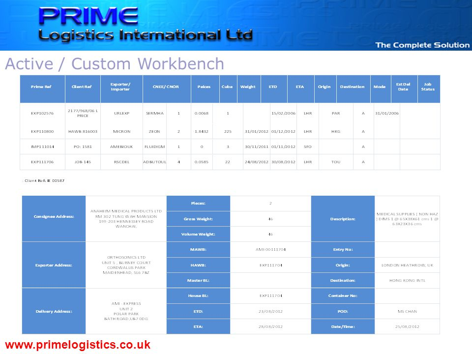 www.primelogistics.co.uk Active / Custom Workbench