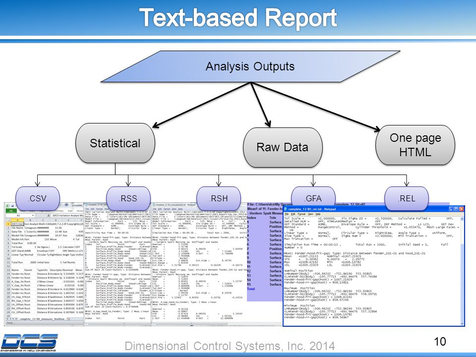10 Analysis Outputs.CSV Statistical Raw Data One page HTML Dimensional Control Systems, Inc.