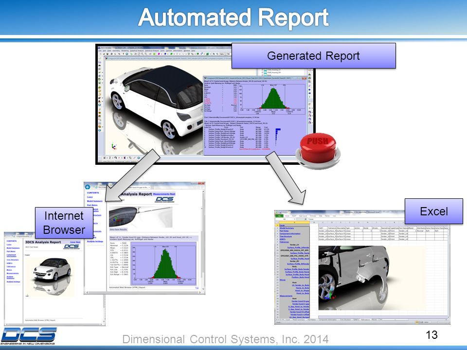 Internet Browser 13 Dimensional Control Systems, Inc. 2014 Generated Report Excel