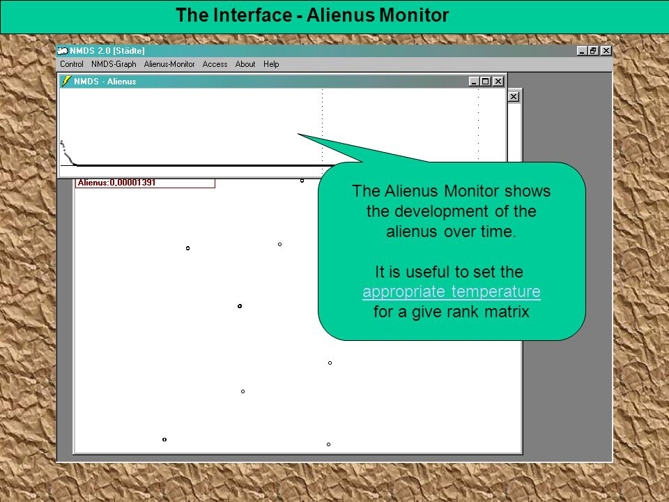 The Interface - Alienus Monitor The Alienus Monitor shows the development of the alienus over time.