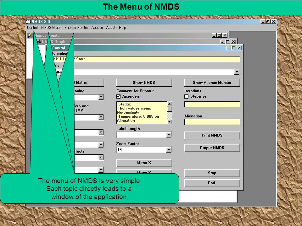 The Menu of NMDS The menu of NMDS is very simple Each topic directly leads to a window of the application