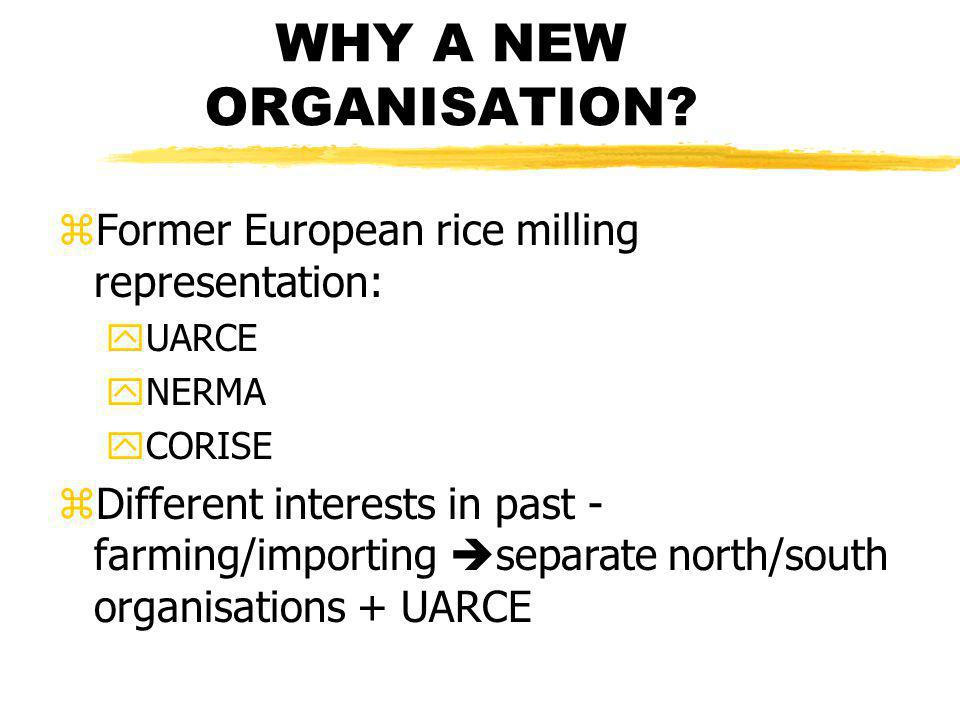 WHY A NEW ORGANISATION.