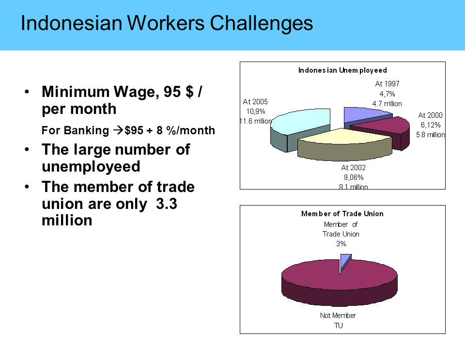 Indonesian Workers Challenges Minimum Wage, 95 $ / per month For Banking  $95 + 8 %/month The large number of unemployeed The member of trade union are only 3.3 million