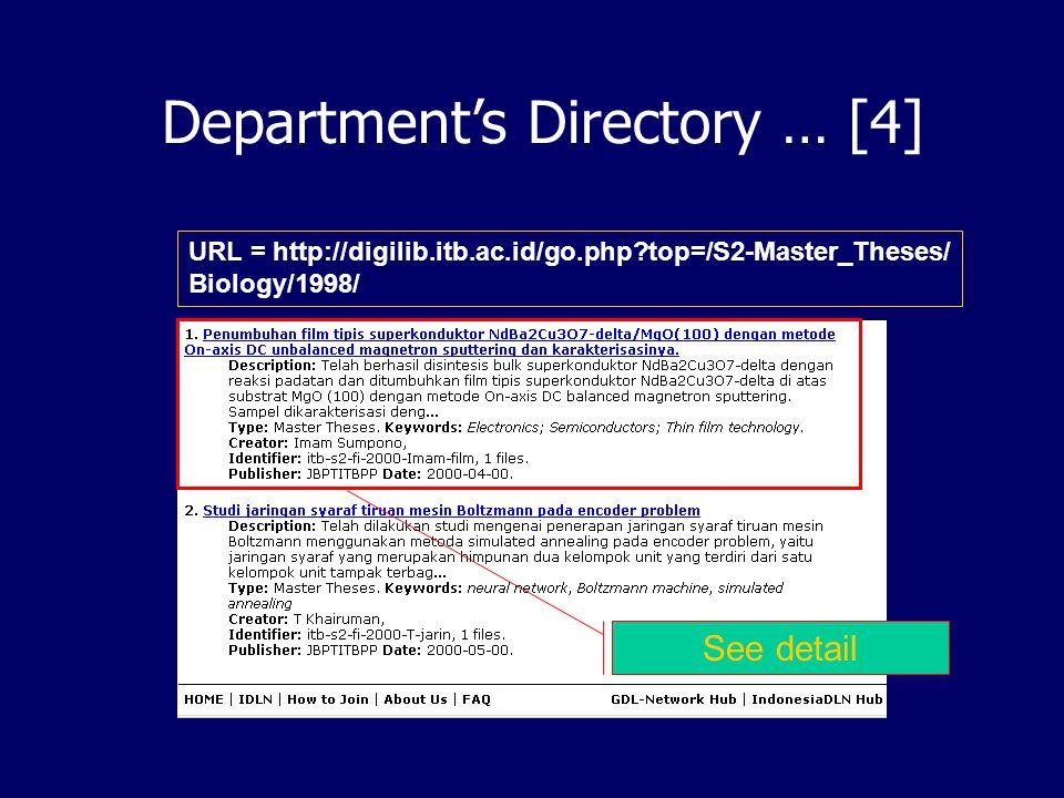 Department's Direcotry … [3] URL = http://digilib.itb.ac.id/go.php?top=/S2-Master_Theses/ Biology/ 1997 1998 1999 2000 2001 … Koleksi Tesis Master Departemen Biologi tahun 1998 Ini adalah Sub Category