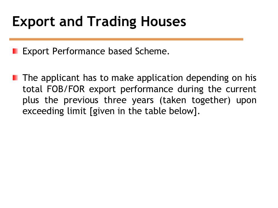 Export Performance based Scheme.