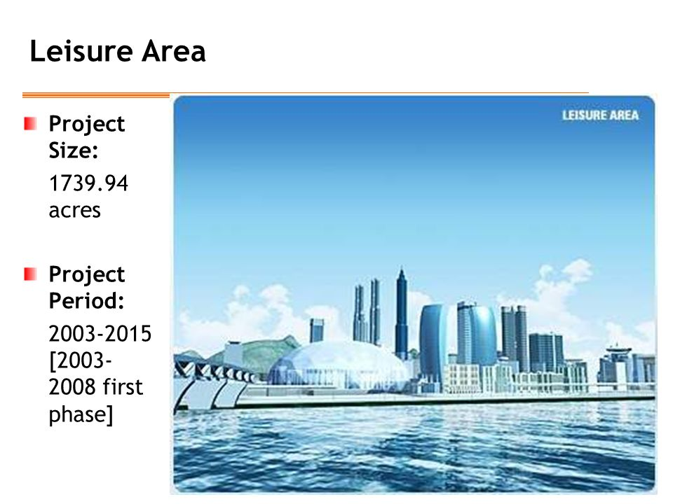 Leisure Area Project Size: 1739.94 acres Project Period: 2003-2015 [2003- 2008 first phase]