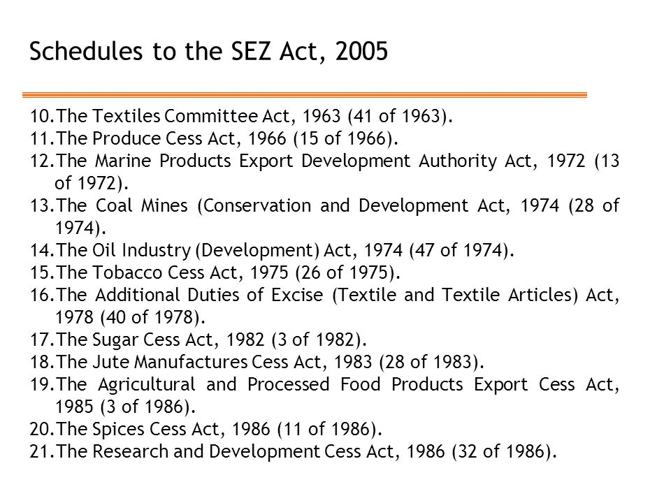 Schedules to the SEZ Act, 2005 10.The Textiles Committee Act, 1963 (41 of 1963). 11.The Produce Cess Act, 1966 (15 of 1966). 12.The Marine Products Ex