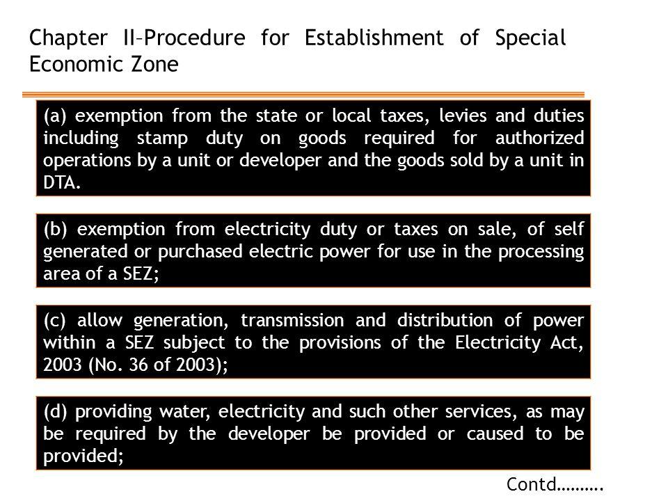 Chapter II–Procedure for Establishment of Special Economic Zone Contd……….