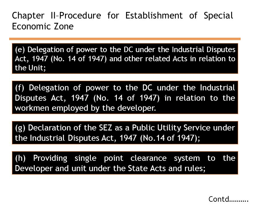Chapter II–Procedure for Establishment of Special Economic Zone Contd………. (e) Delegation of power to the DC under the Industrial Disputes Act, 1947 (N