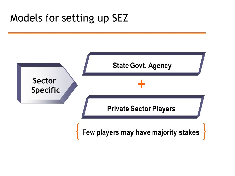 Models for setting up SEZ Sector Specific State Govt. Agency Private Sector Players Few players may have majority stakes +