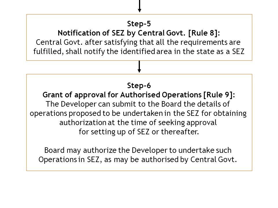 Step-5 Notification of SEZ by Central Govt.[Rule 8]: Central Govt.