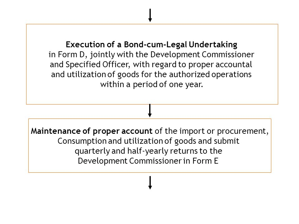 Execution of a Bond-cum-Legal Undertaking in Form D, jointly with the Development Commissioner and Specified Officer, with regard to proper accountal and utilization of goods for the authorized operations within a period of one year.