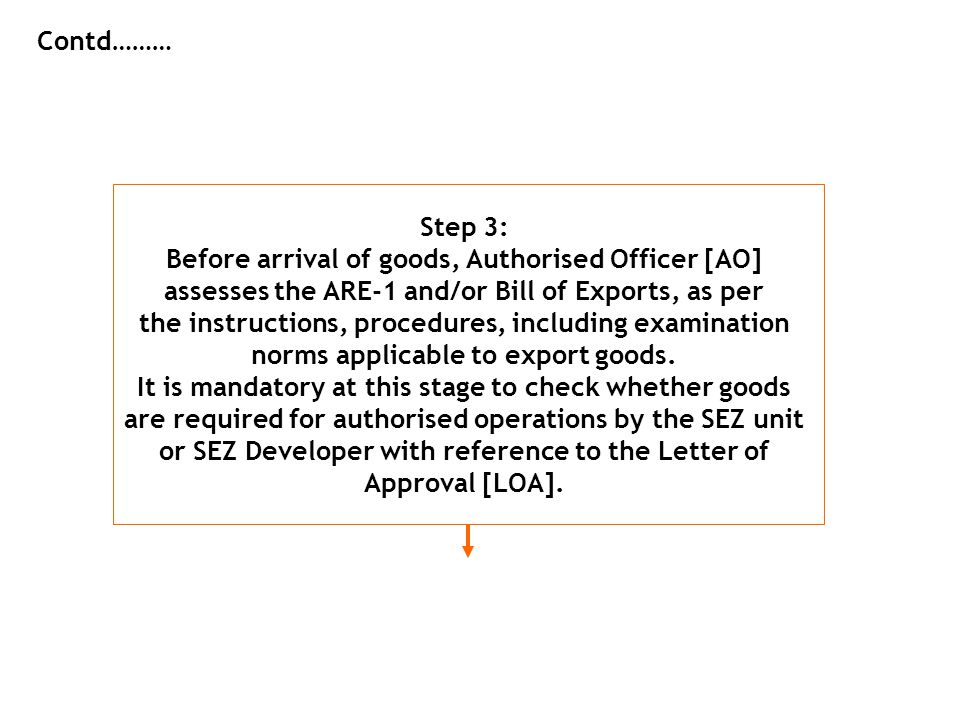 Contd……… Step 3: Before arrival of goods, Authorised Officer [AO] assesses the ARE-1 and/or Bill of Exports, as per the instructions, procedures, incl