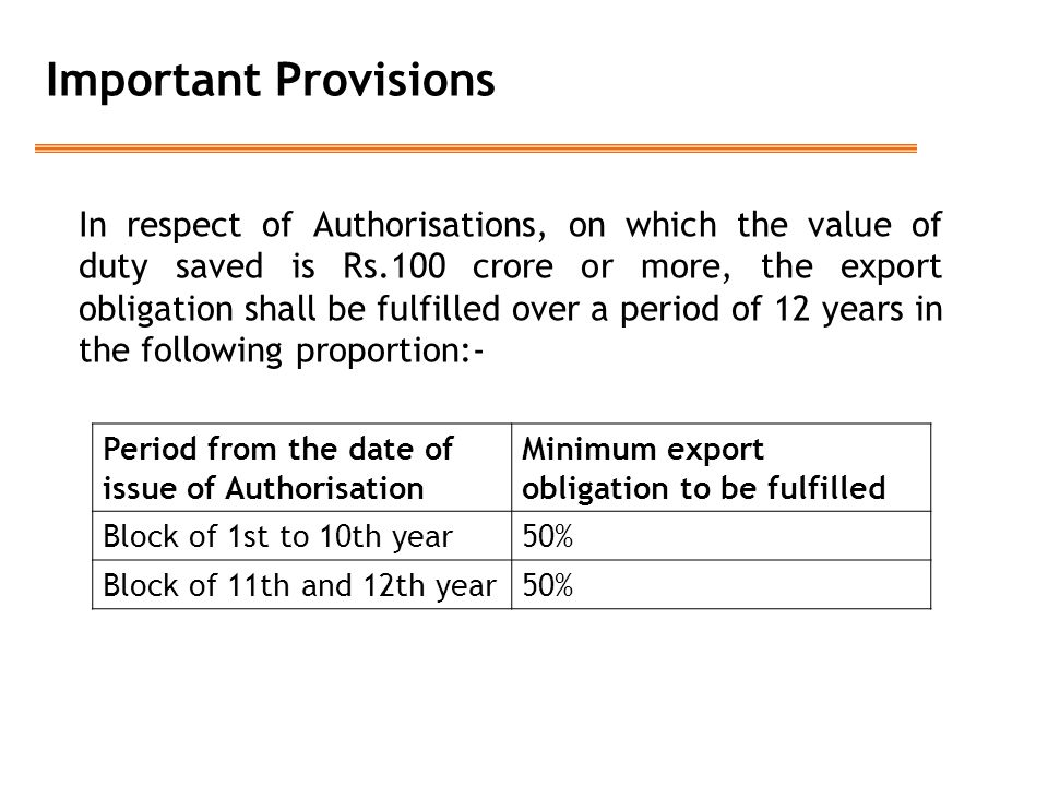 Important Provisions In respect of Authorisations, on which the value of duty saved is Rs.100 crore or more, the export obligation shall be fulfilled over a period of 12 years in the following proportion:- Period from the date of issue of Authorisation Minimum export obligation to be fulfilled Block of 1st to 10th year50% Block of 11th and 12th year50%