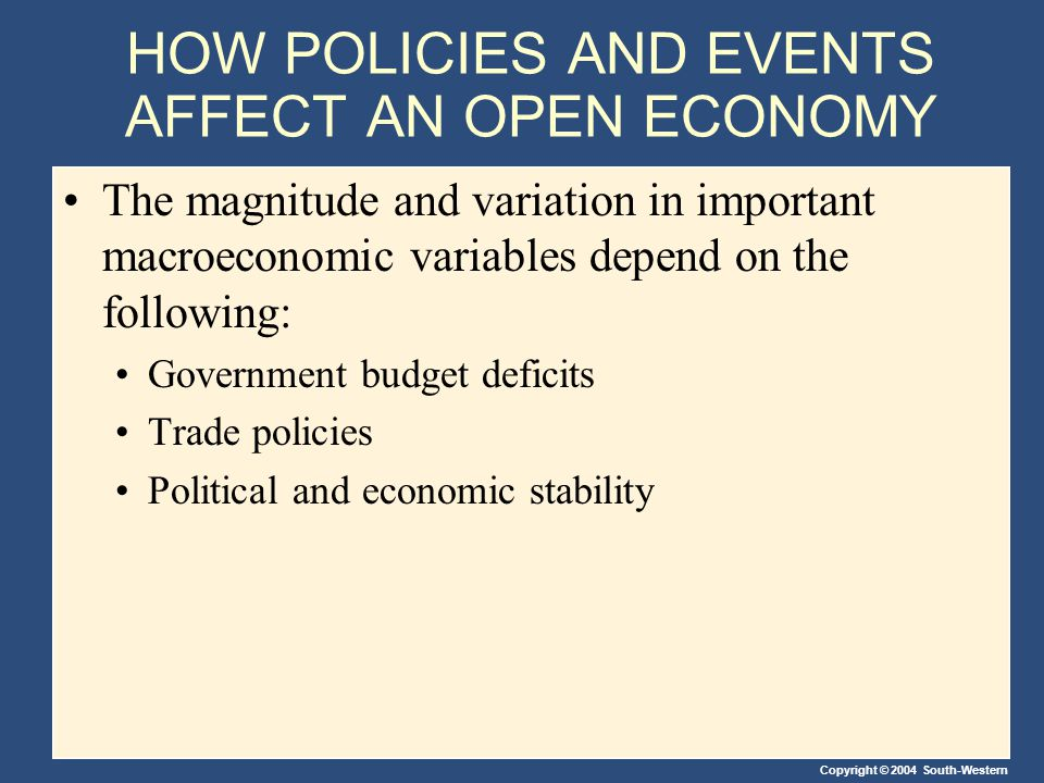 Copyright © 2004 South-Western HOW POLICIES AND EVENTS AFFECT AN OPEN ECONOMY The magnitude and variation in important macroeconomic variables depend on the following: Government budget deficits Trade policies Political and economic stability