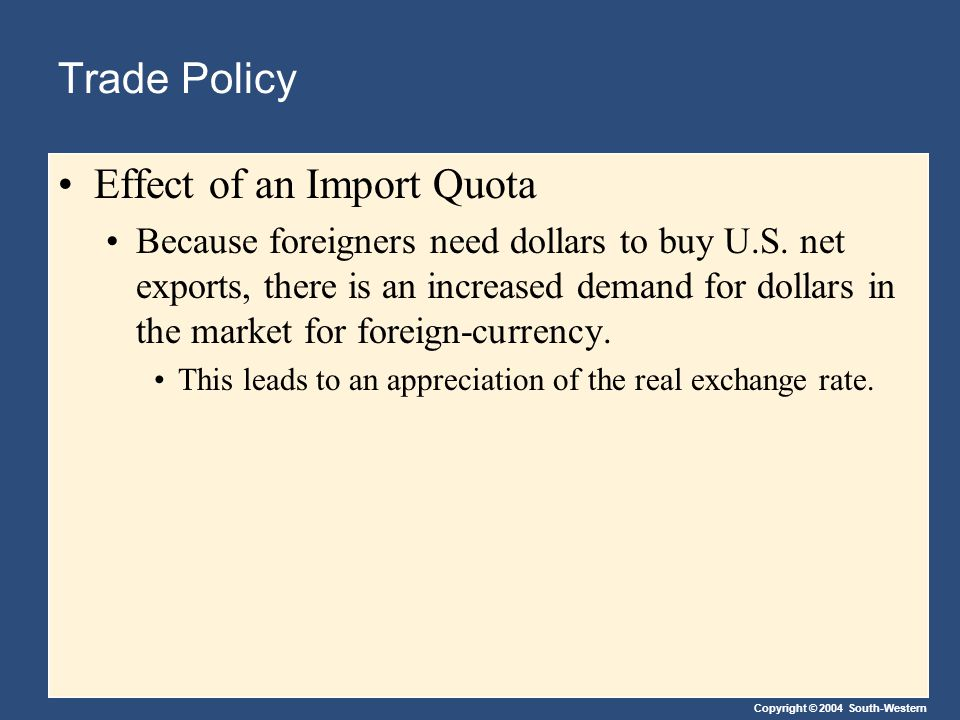 Copyright © 2004 South-Western Trade Policy Effect of an Import Quota Because foreigners need dollars to buy U.S.