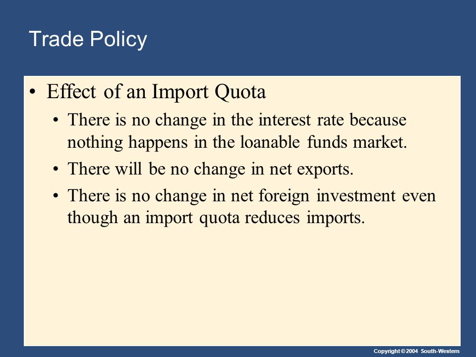 Copyright © 2004 South-Western Trade Policy Effect of an Import Quota There is no change in the interest rate because nothing happens in the loanable