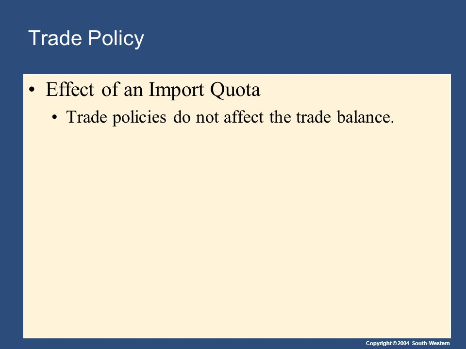 Copyright © 2004 South-Western Trade Policy Effect of an Import Quota Trade policies do not affect the trade balance.